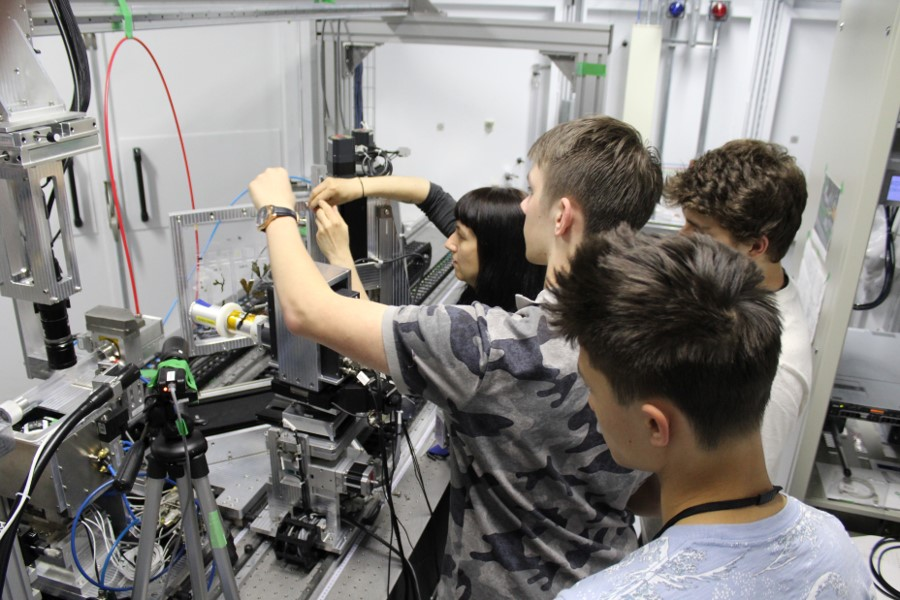 Students at the beamline Image